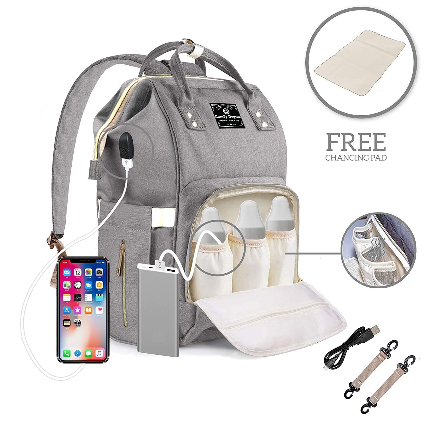 Waterproof Large Capacity Diaper Baby for Mom and Dad Gray Black ComfyDegree Nappy Changing Bag Backpack