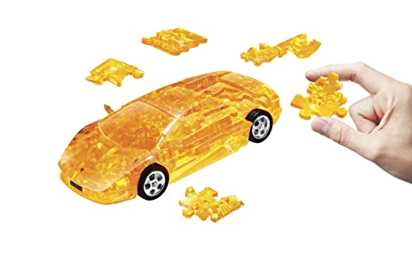 Lamborghini Murcielago Plastic 3D Assembly Puzzle Car   Yellow Crystal  Color 64 Pieces Puzzle In Scale