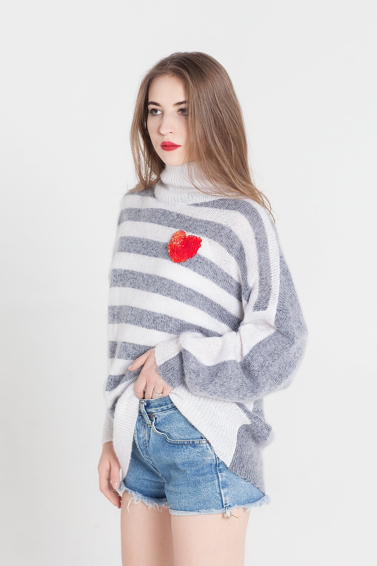 Gray knitted sweater White knitted sweater Gray sweater Gray pullover White pullover Designer knitwear Designer clothing Striped Mohair