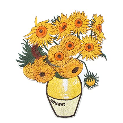 Vincent Van Gogh Sunflowers Big Size Embroidered Patches Cool Art Badge Iron On Sew On Applique Decoration Accessory For Clothes Shirt Diy