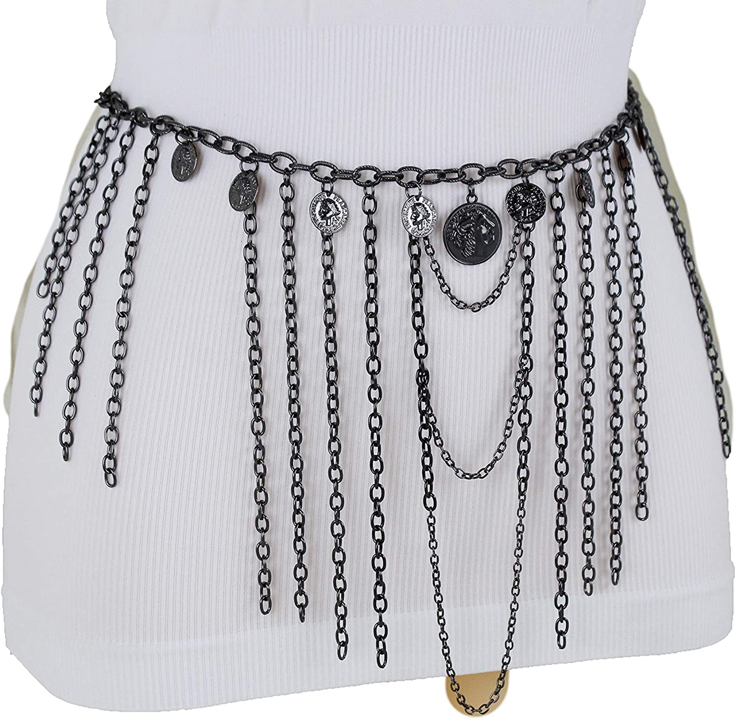 Women Pewter Black Metal Ethnic Fashion Belt Hip High Waist Coin Charms XS S M
