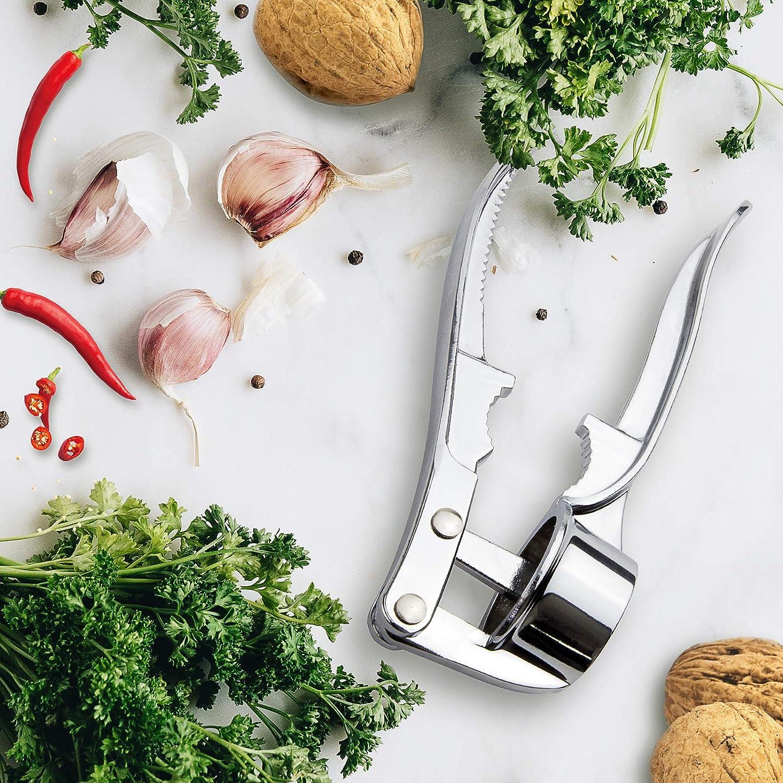 HANGOU Prensa de Ajo Trituradora de Ajo Trituradora de Ajo de Acero Inoxidable Picadora de Ajo a Prueba de /óxido con Cascanueces para Jengibre Ajo