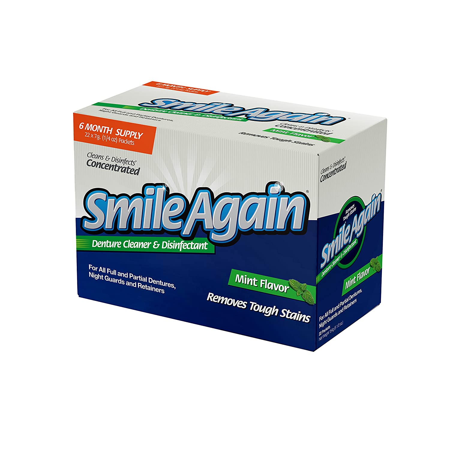 Smile Again Denture Cleaner, Mint Flavor, 7g (22 Pack) Protech ProTech1