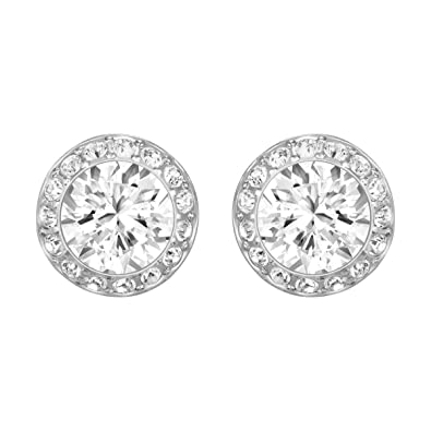 c905e062c Swarovski Women's Rhodium Plating and White Crystal Angelic Pierced Earrings