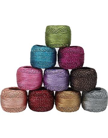 Set 10 Piezas Hilo Ganchillo Algodón Colorido Brillante por Kurtzy - Madejas Manualidades Hilo 92,