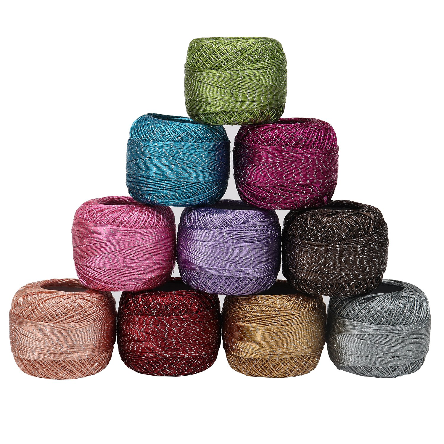 10 x Sparkly Colourful Glitter Cotton Crochet Thread Set by Curtzy - 92.95 Yards Crafts Knitting Yarn Lace Flowers Skein Skeins Balls - 929.50 Yards Total - Ideal for Beginners or Crochet Enthusiasts Kurtzy WO-646
