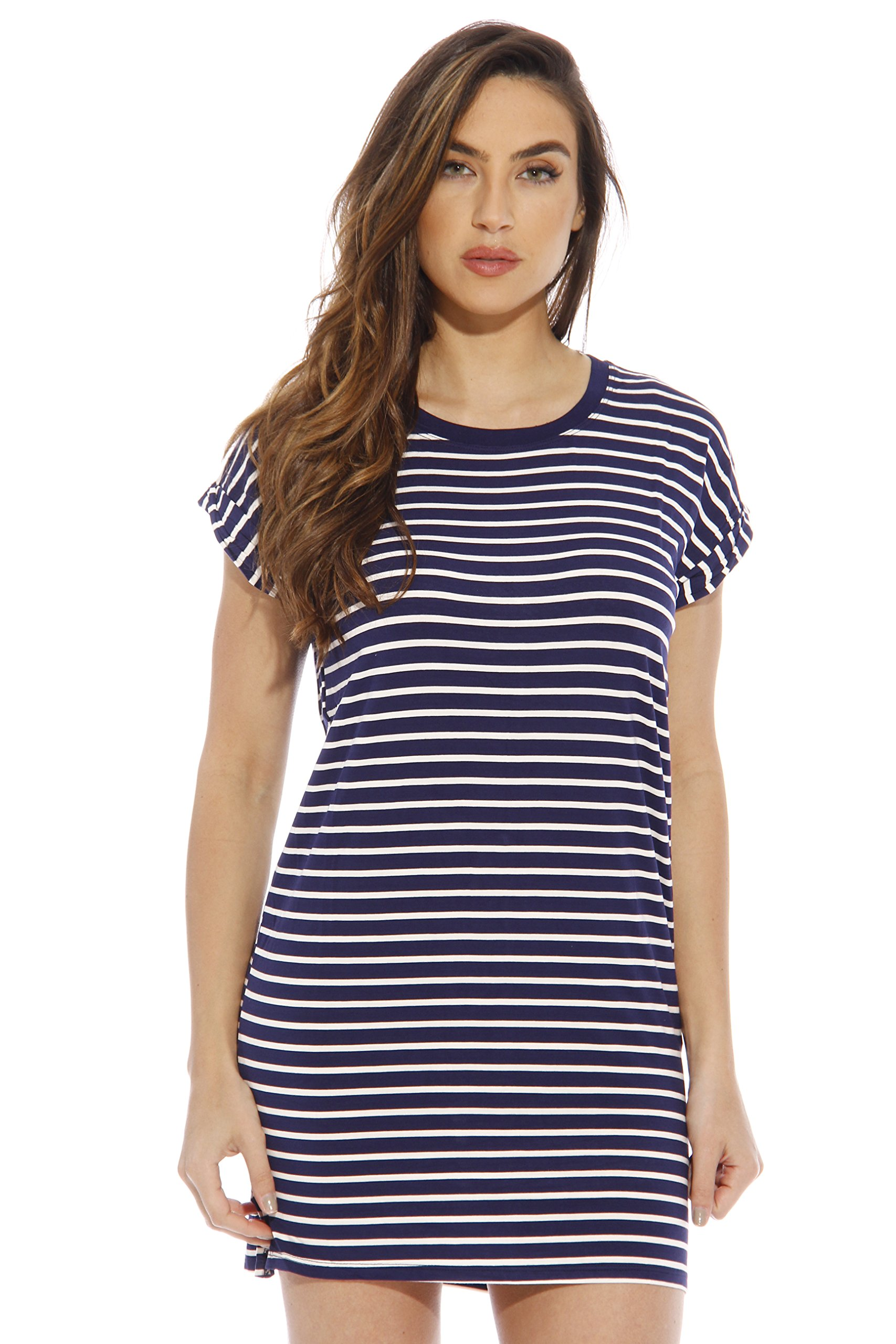 401121-NW-M Just Love Summer Dresses for Women / Resort Wear , Navy With White Stripe , Medium