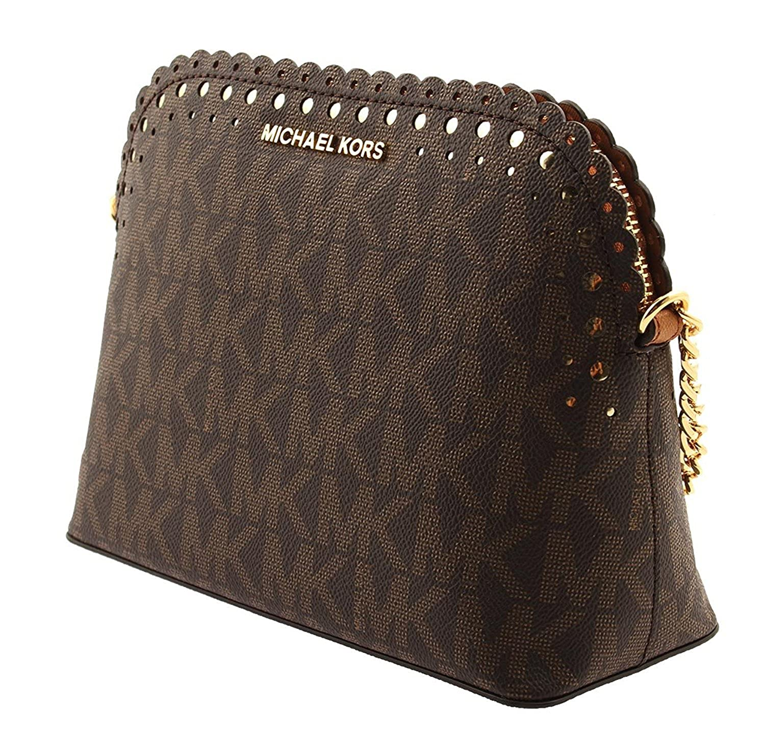 b153892a7470 MICHAEL Michael Kors Violet Cindy Dome Crossbody Signature MK Brown PVC   Handbags  Amazon.com
