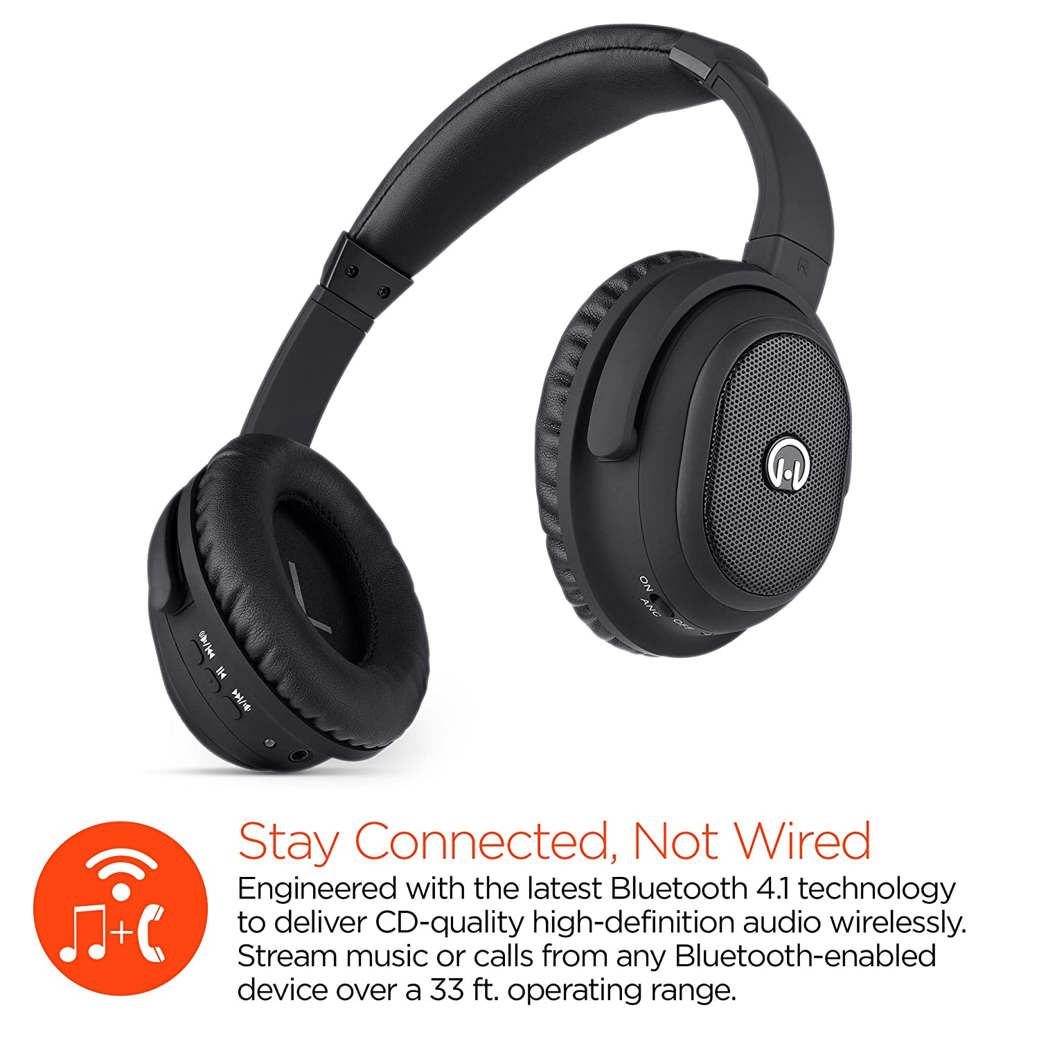 Amazon.com: HyperGear Stealth Noise Cancelling Wireless Bluetooth Stereo Headphones with Microphone,12 hrs of Talk/Music Compatible for iPhone,Smartphones ...