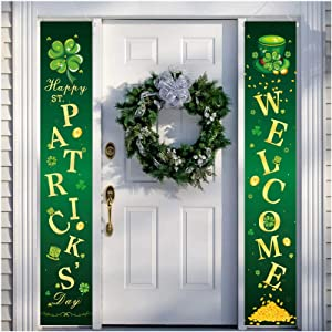 St Patricks Day Decorations Door Banner Irish Welcome Hanging Decor Porch Sign for Home Wall Doorway Fireplace Party Favor Ornament