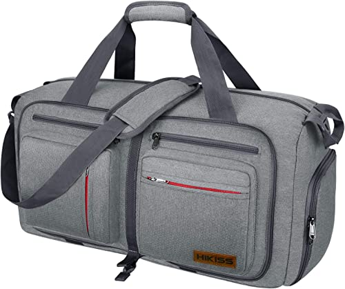 Travel Duffel Bag, 55L Foldable Duffle Bag with Shoes Compartment Packable Weekender Bag for Men Women Water-proof Tear Resistant HIKISS-Grey