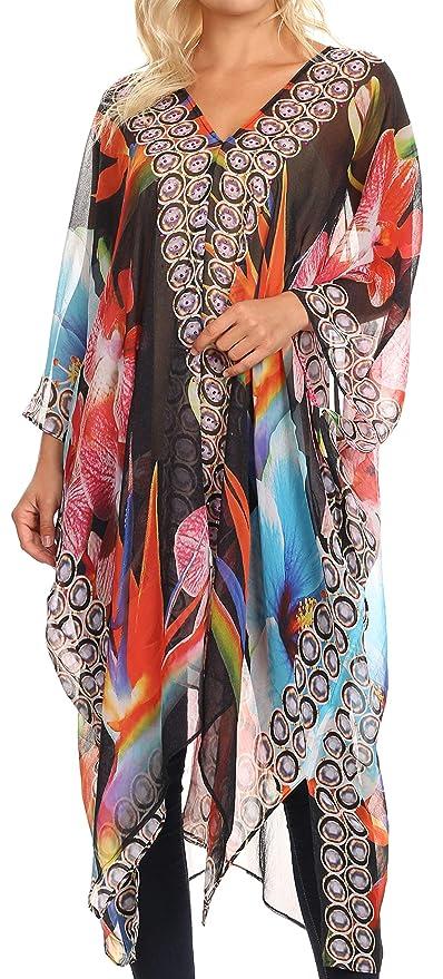d766d2b1c9719 Sakkas 1823 - Livi Women's V Neck Beach Dress Cover up Caftan Top Loose  with Rhinestone - FLBK32-Black - OS: Amazon.ca: Clothing & Accessories
