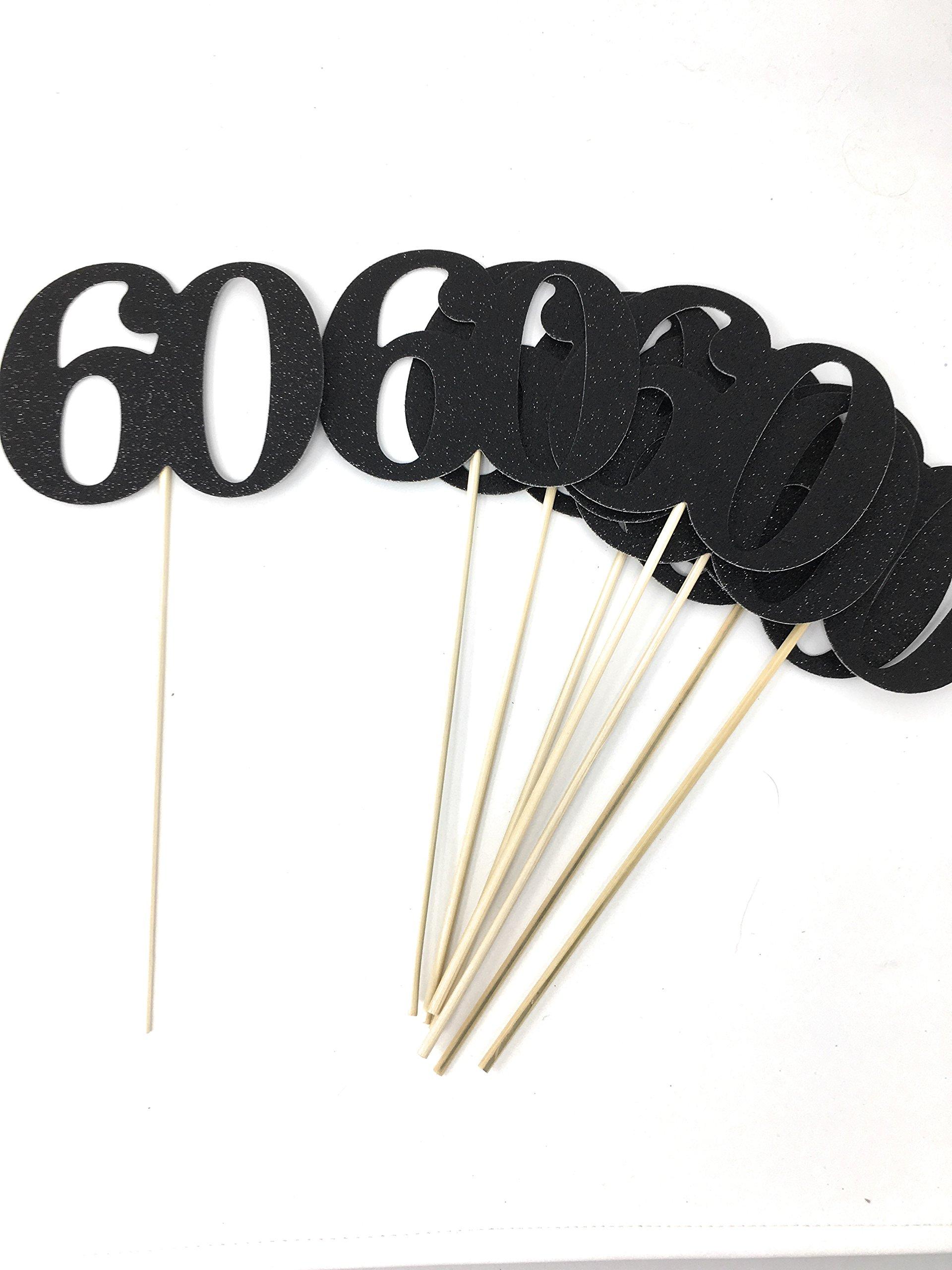 Set of 8 Number 60 Centerpiece Sticks for Anniversary Reunion 60th Birthday (Black)