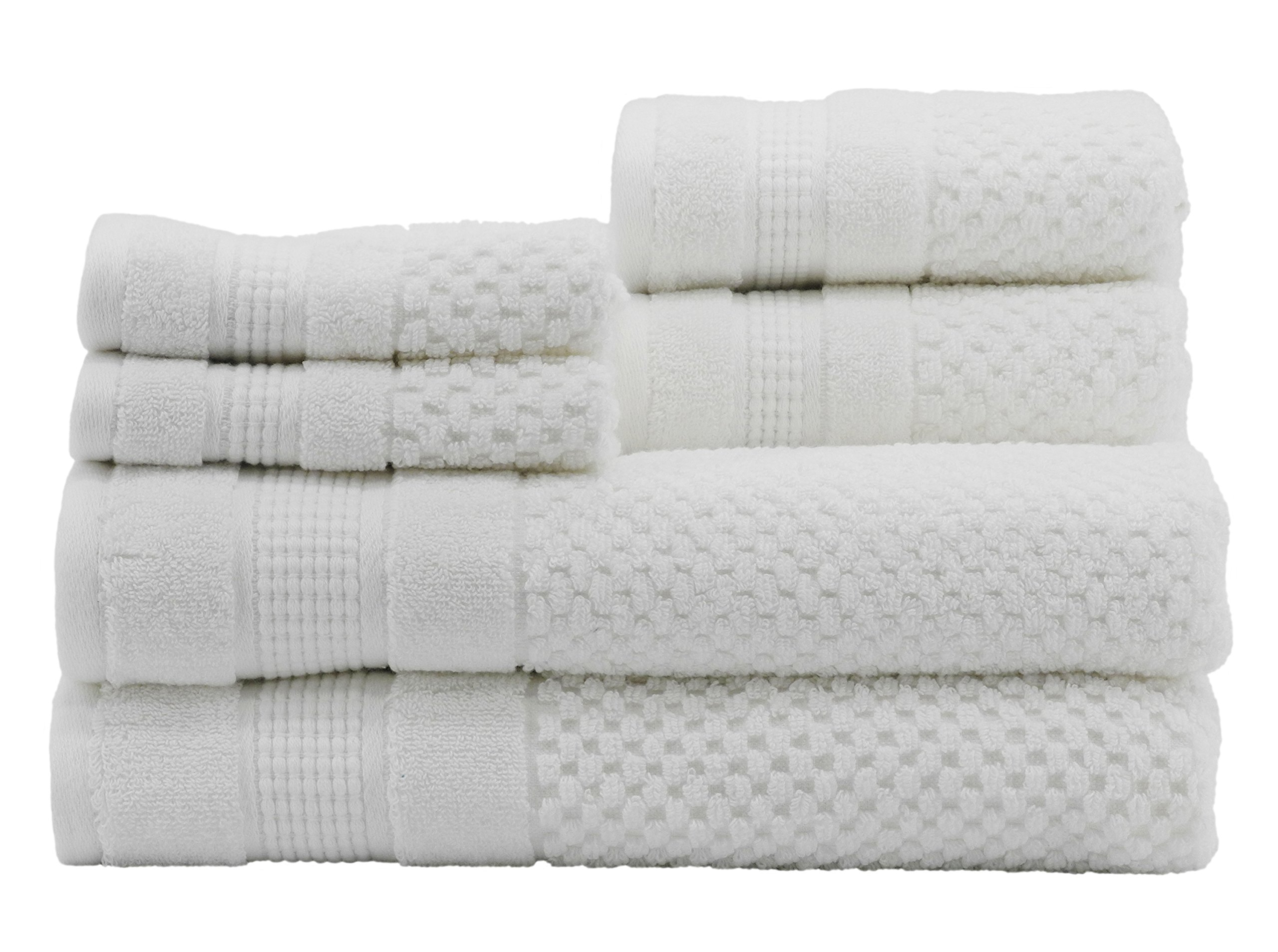 Caro Home Pebble 6 Piece Bath Towel Set, Large, White
