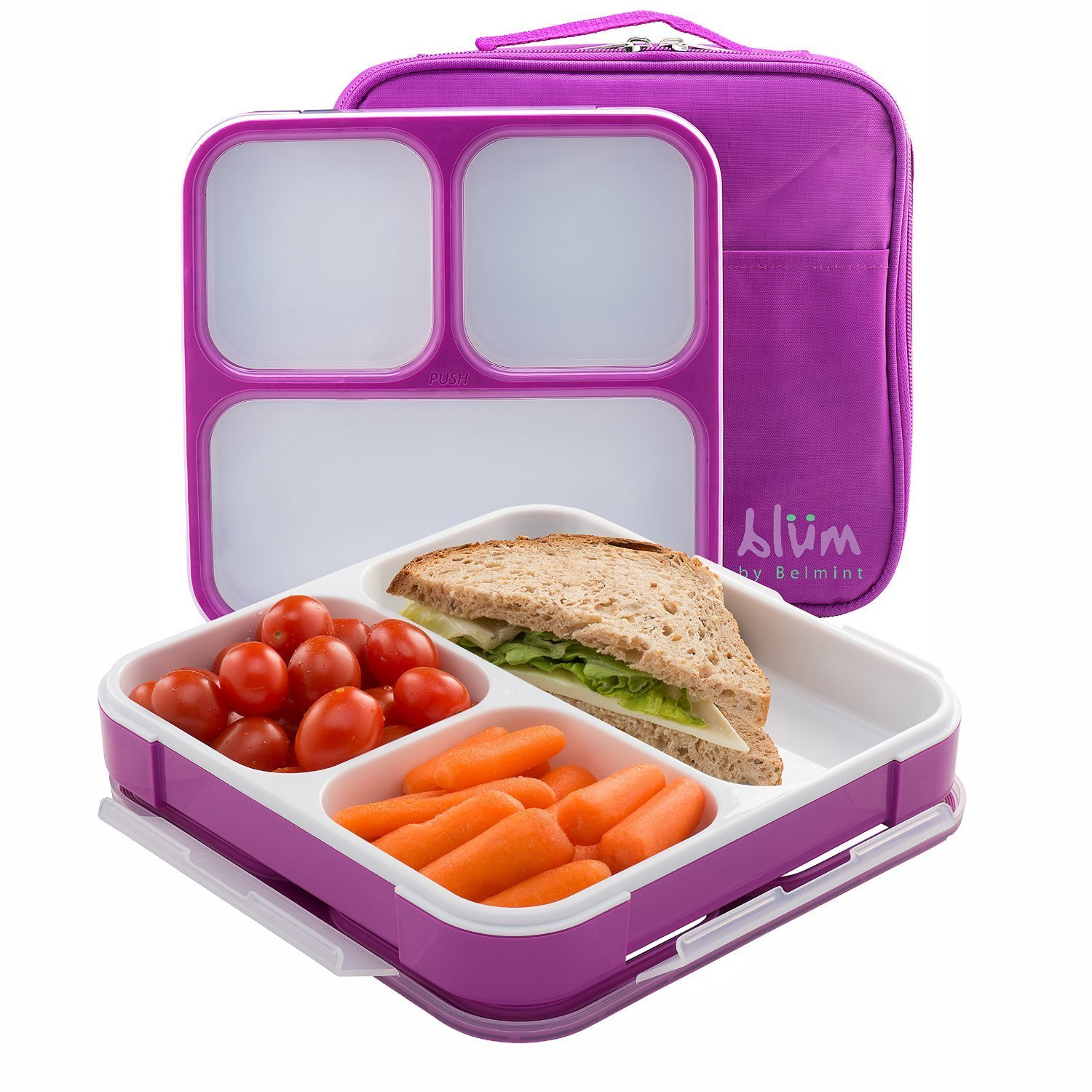 blum bento lunch box with insulated bag purple chickadee solutions. Black Bedroom Furniture Sets. Home Design Ideas