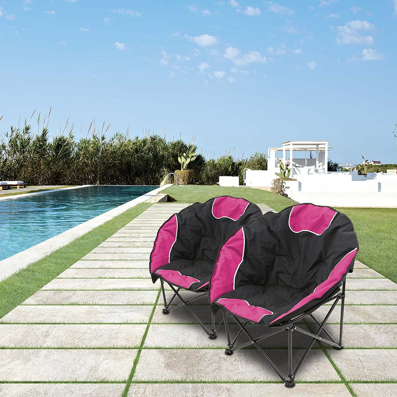 Magshion Folding Padded Round Camping Beach Chair with Storage /& Carry Bag Set of 2
