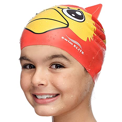 Fun Swimming Cap Kids & Toddlers - Youth Swim Caps Girls, Boys & Children  Aged 4-12 | Baby & Kid Swim Caps Long Short Hair | Kids Swim Hat - Ideal