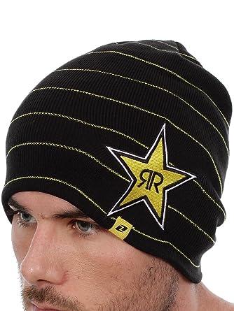 0356b437ea83ff Rockstar Energy Drink Men's One Industries Stripes Beanie Hat Cap - Black