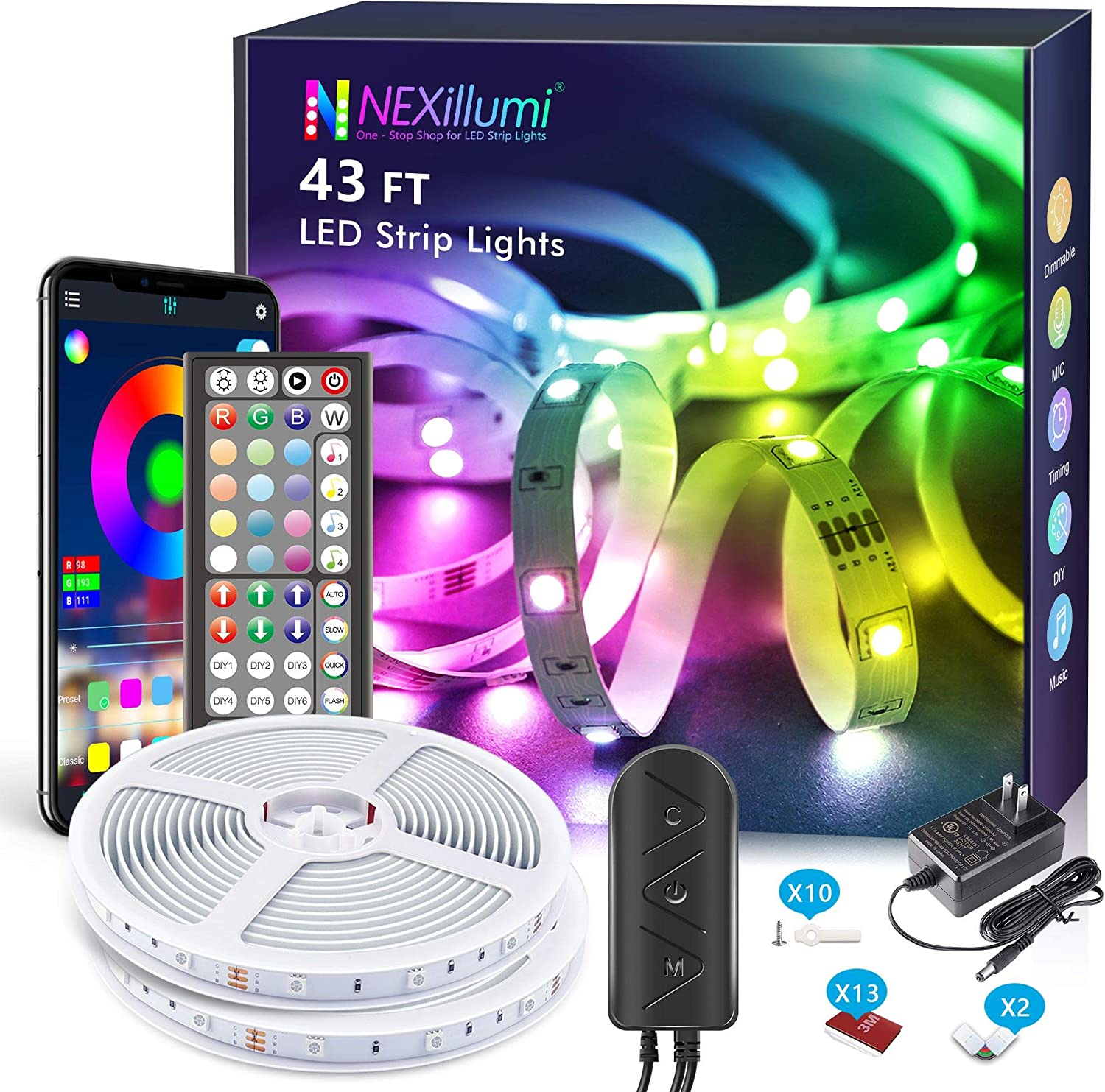 Upgraded LED Lights 43 ft with Remote App Control Music Sync SMD5050 RGB LED Strip Lights LED Lights for Bedroom, Kitchen, Room Decor, Night Light for Kids(43 Ft APP+Remote+Mic+3 Button Switch)