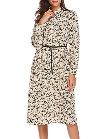 Beyove Damen Blumen Chiffonkleid Druckkleid Langarmkleid Lang Shirtkleid  Maxikleid Sommerkleid mit Gürtel  Amazon.de  Bekleidung 1b1fafb596