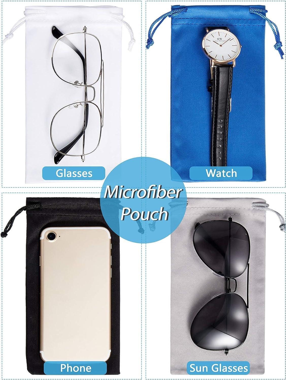 40 Pieces Microfiber Case Pouch Bag Sunglasses Storage Pouch Soft Glasses Case with 2 Pieces Cleaning Cloth