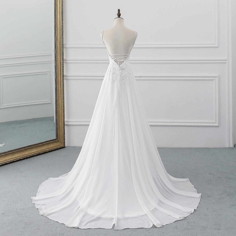 Beach Wedding Dresses for Bride 20,Vintage A Line Backless Boho ...