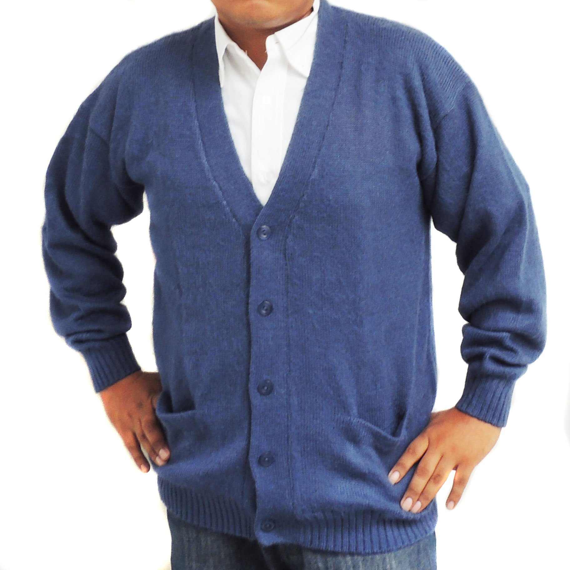 ALPACA CARDIGAN GOLF SWEATER JERSEY V neck buttons and Pockets made in PERU STEEL XL