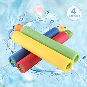 Holly LifePro Water Blaster Soaker Gun 4 Pack Safe Foam,Noodles Pump Action Outdoor Water Toy for Kids and Adults Water Summer Shooter Toys for Summer Outdoor Party Beach Sand