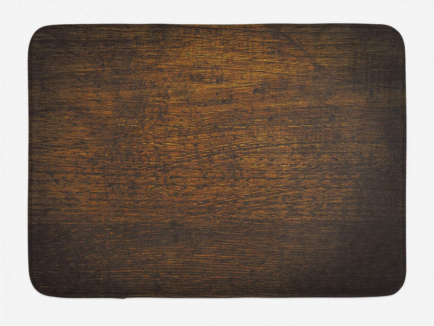 Ambesonne Wooden Bath Mat, Old Vintage Antique Timber Oak Background Rustic Floor Artisan Photo Print, Plush Bathroom Decor Mat with Non Slip Backing, 29.5