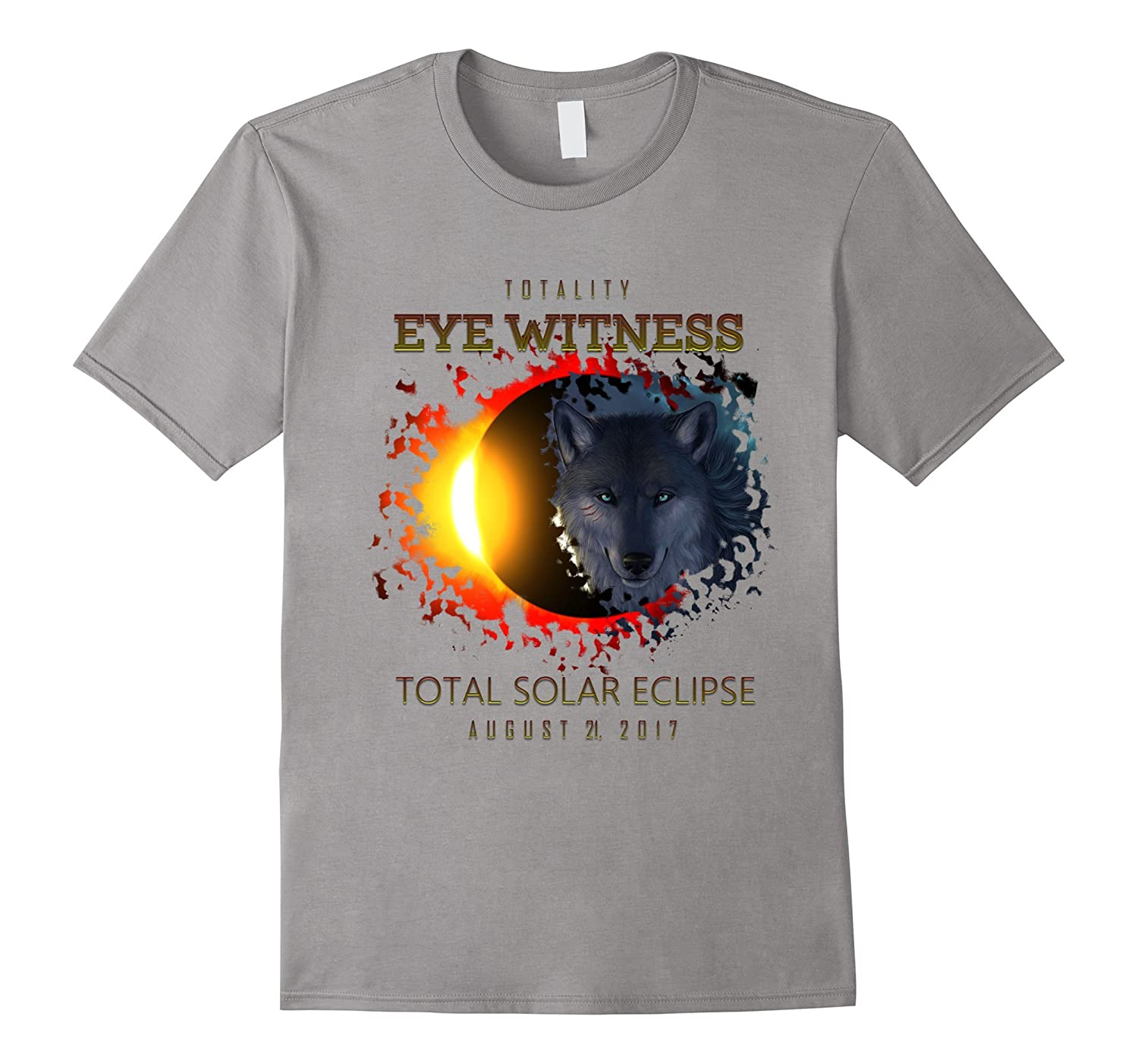 Wyoming 2017 Total Solar Eclipse Eye Witness Wolf T Shirt-TH