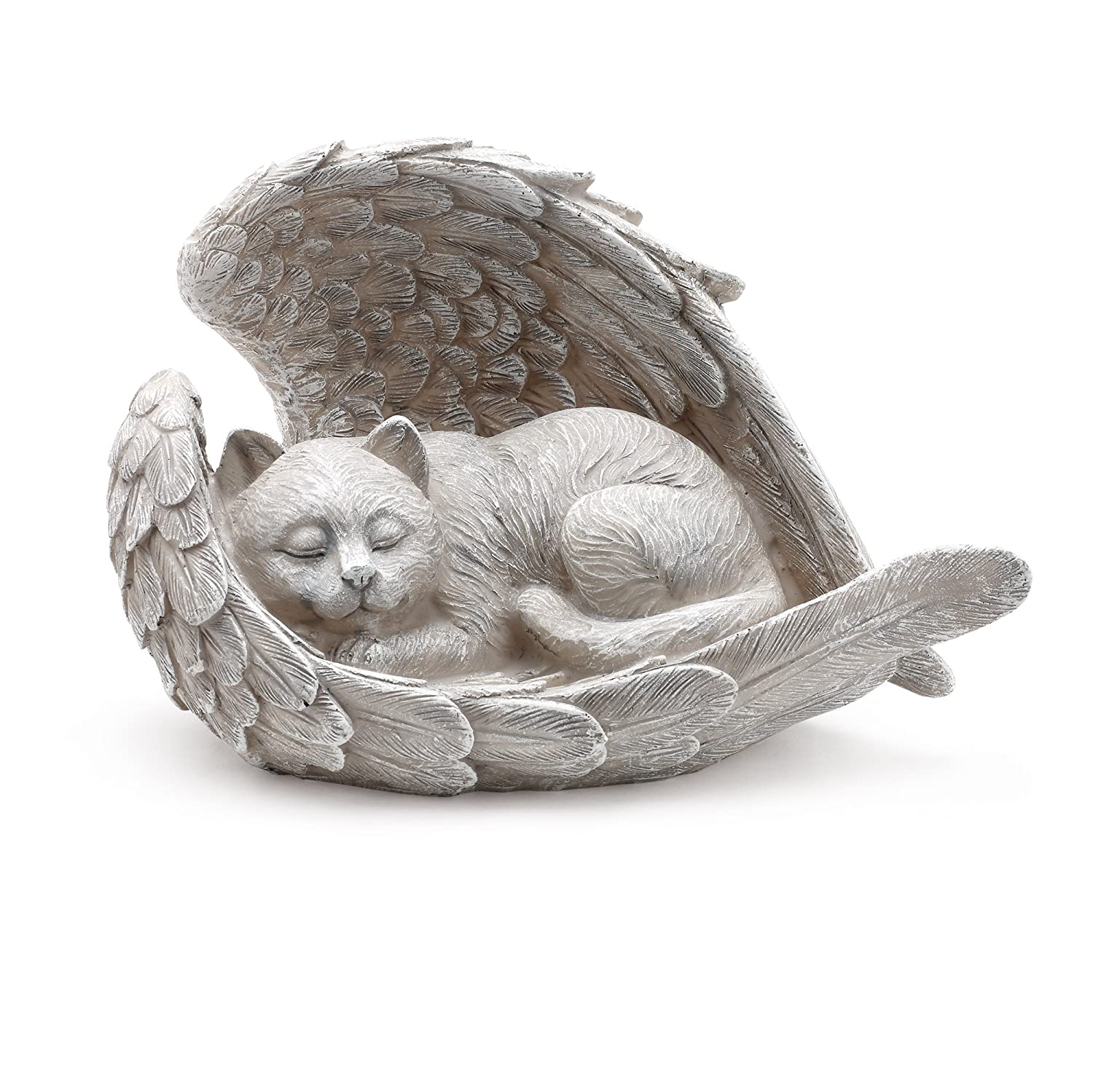 Cat Sleeping in Angel Wings Pet Memorial Statue