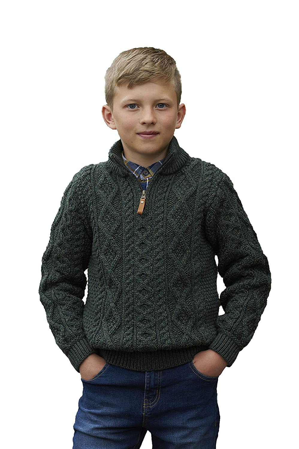 Kids 100% Merino Wool Sweater with Quarter Length Zip, Army Green Colour Aran Crafts