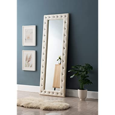 Kings Brand Furniture - Modern Upholstered Tufted Standing Floor Mirror, Beige