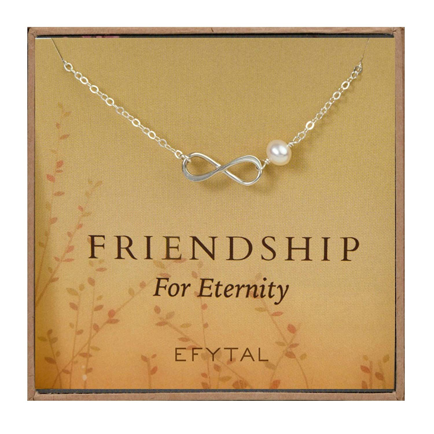 10c08f2b90 Amazon.com: EFYTAL Sterling Silver Infinity Necklace - Cultured Pearl  Bridesmaids/Friendship Jewelry Gift: Jewelry