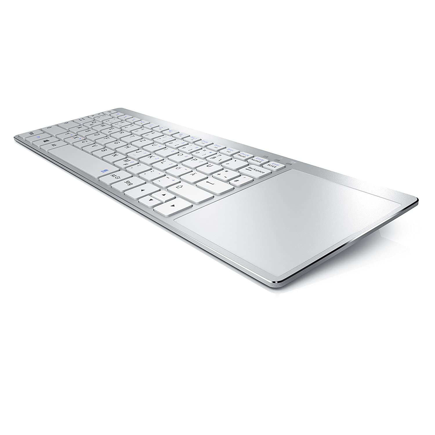 Aplic - Wireless Slim Tastatur mit Touchpad im Apple Design | Multimedia Keyboard im Slim Design | Multitouch-Gestensteuerung | QWERTZ | 80 Tasten | weiß CSL-Computer 230303263