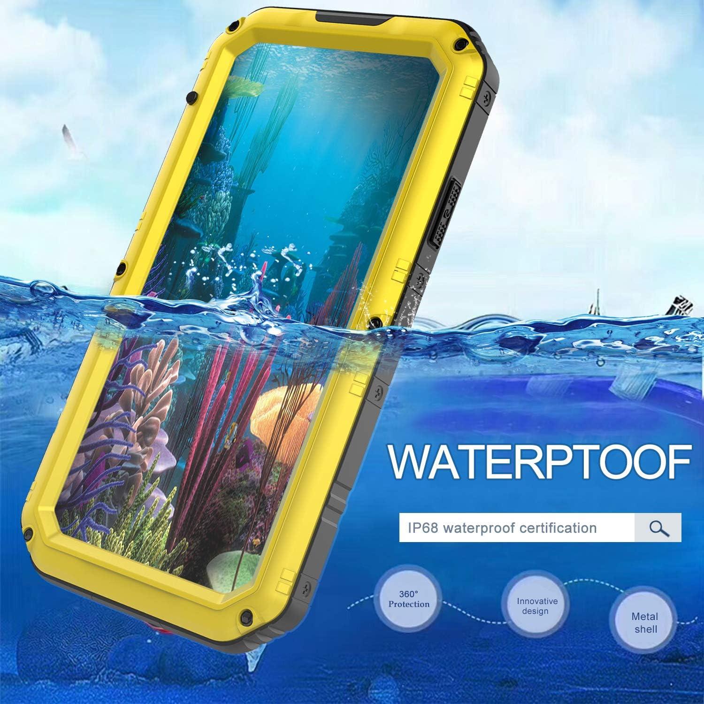 WintMing iPhone Xr Aluminium Metal Waterproof Case Built-in Screen Shockproof Dustproof 360 Full Body Protector Case Heavy Duty Cover Yellow, iPhone xr