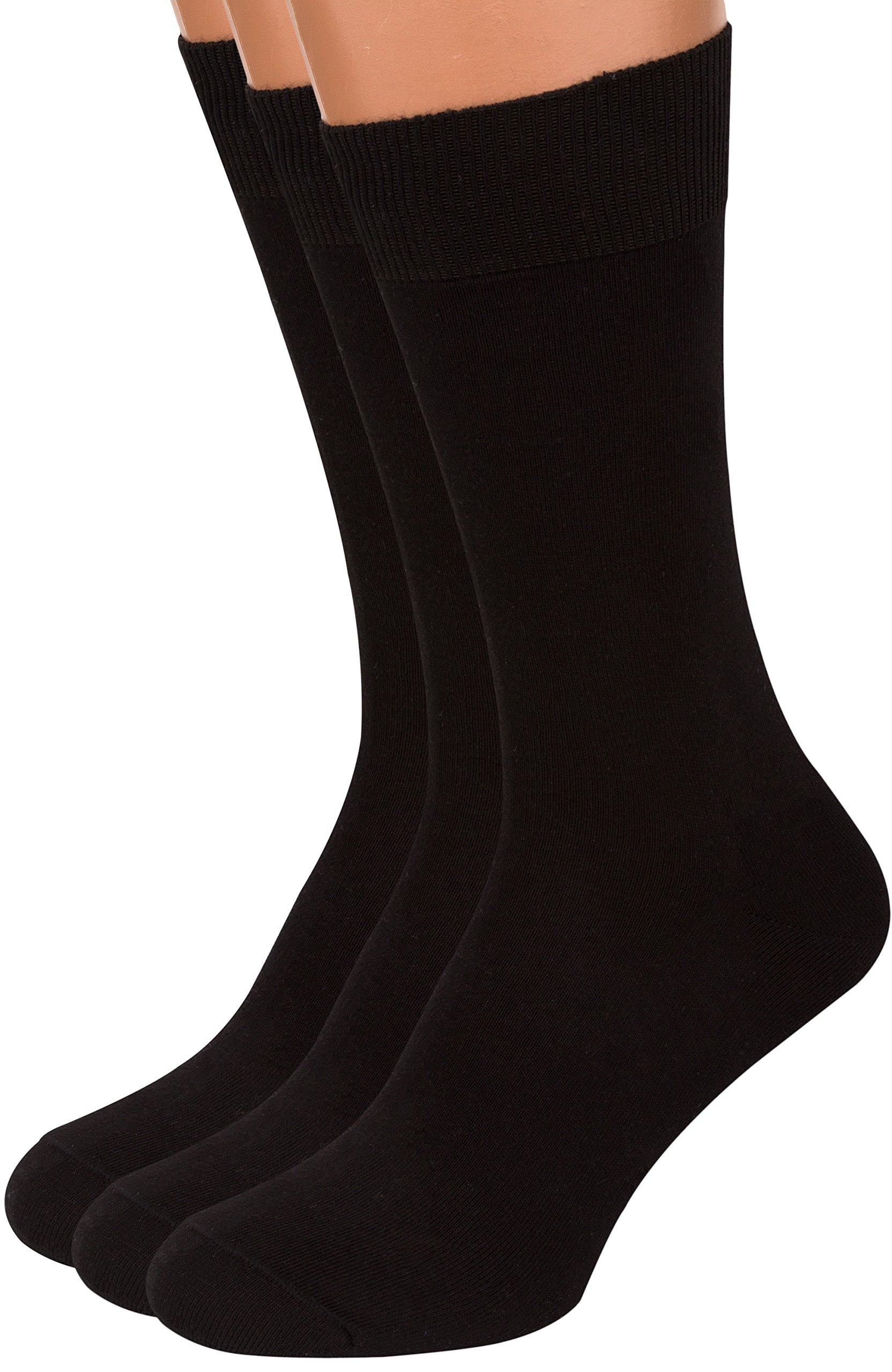 Premium Black Dress Socks Men, 3 packs Rich European Organic Cotton Crew AIR SOCKS (Black, L)