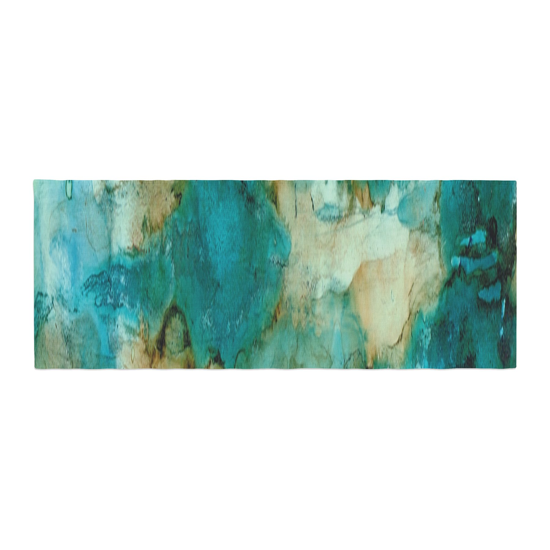 Kess InHouse Rosie Brown Waterfall Teal Blue Bed Runner, 34'' x 86''
