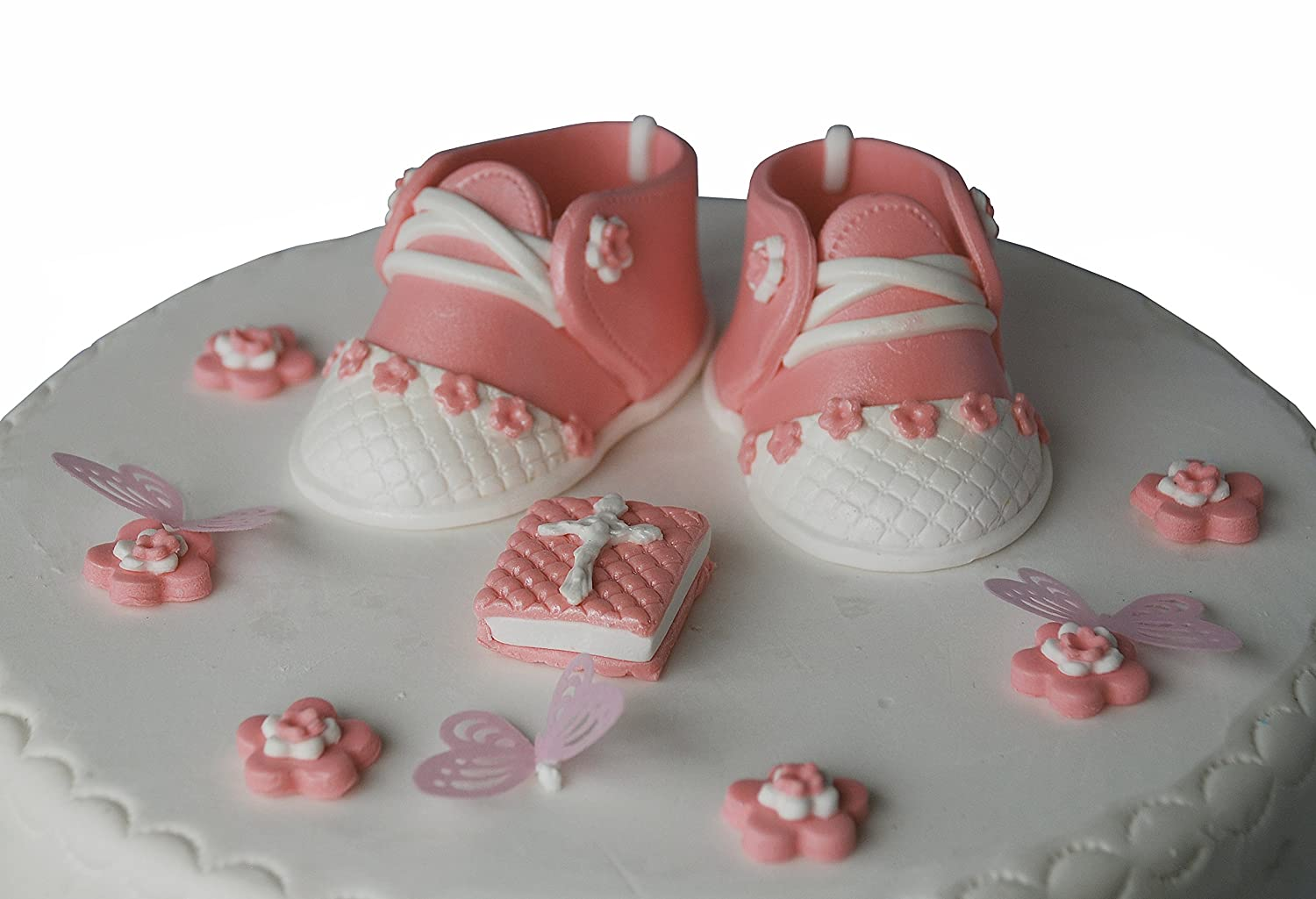 Handmade christening cake topper Baby girl booties with Large plaque