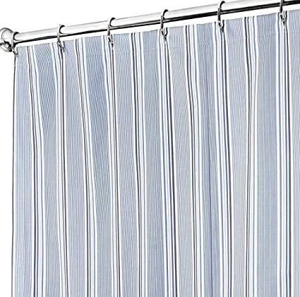 Extra Long Shower Curtain 72 X 84 Inch Curtains For Bathroom Decor Blue Striped Fabric