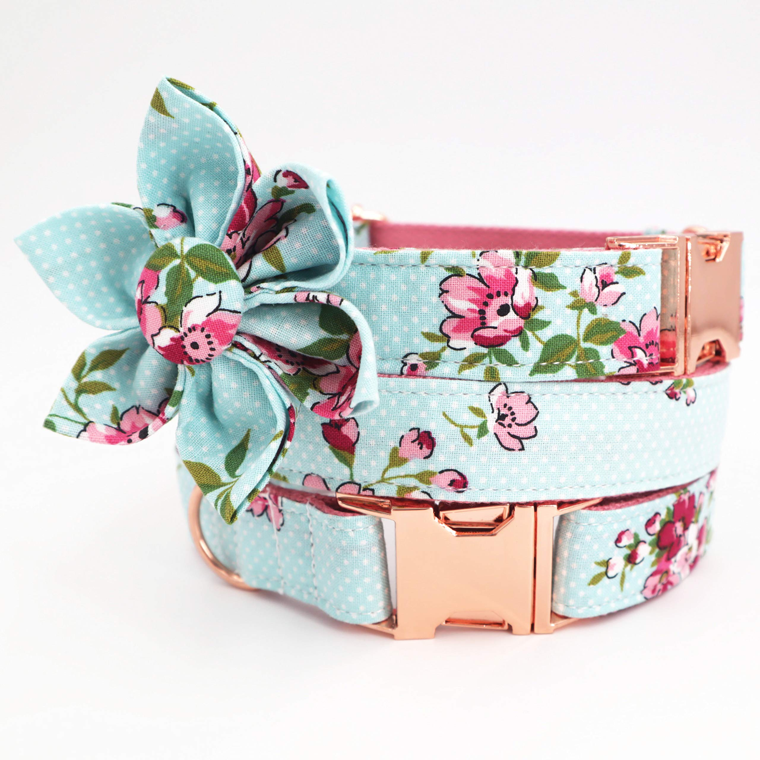 Free Sunday Cute Dog Collar, Girl Dog Collar with Blue Floral Design Adjustable with Rose Gold Slide Release Buckle, New…