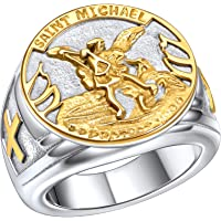 FaithHeart Saint Michael Ring, San Miguel Catholic Medal Great Protector Archangel Defeating Satan Figurine Stainless…