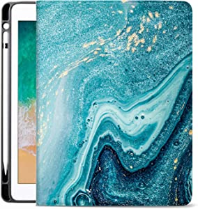 Sahoprt New iPad Pro 12.9 Inch Case 4th Generation 2020 Cover with Pencil Holder, PU Leather Silicone Shell Folio Soft TPU Back Cover, Multi-Angle Viewing for Apple Tablet, Cyan Marble