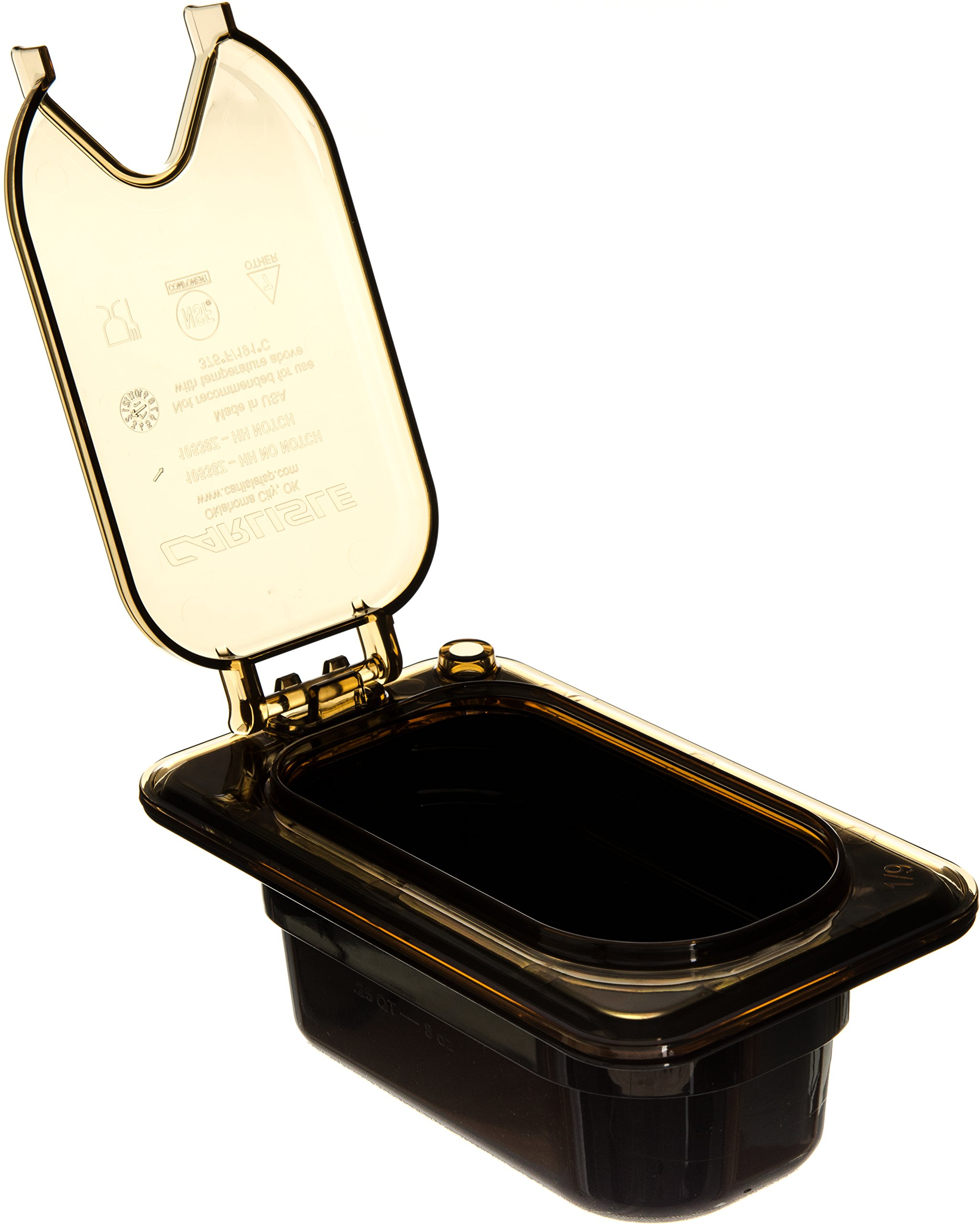 Carlisle 10539Z13 StorPlus EZ Access Hinged High Heat Lid with Handle and Notch, Universal Ninth Size, Amber (Pack of 6) by Carlisle (Image #5)