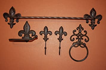 Amazoncom Fleur De Lis Bath Accessory Set Towel Bar Towel Ring