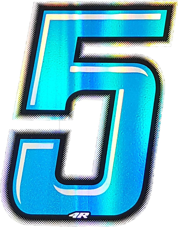 4r Quattroerre It 13275 Startnummer 5 Aufkleber Für Motorräder Blau 10 X 6 5 Cm Auto