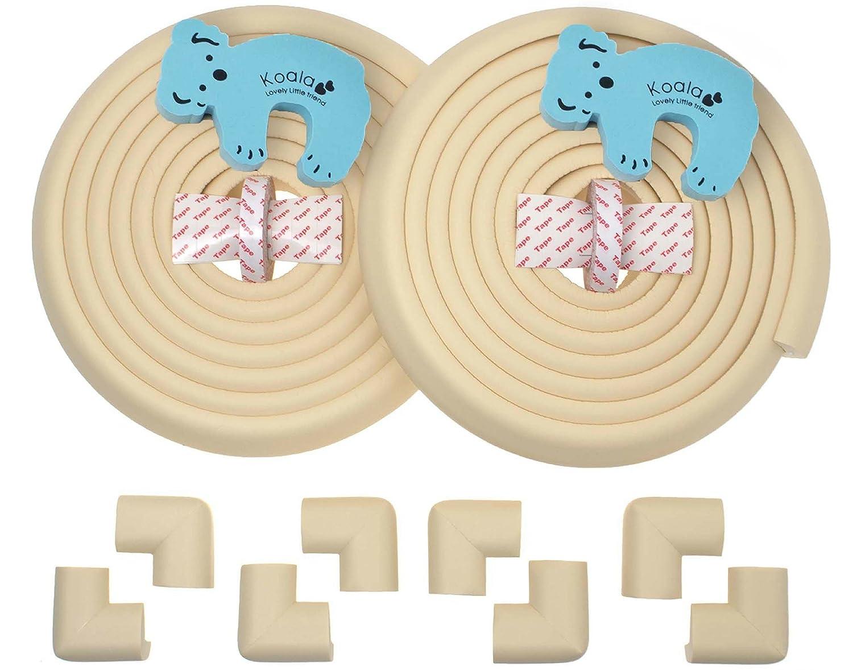 Sicherheits-Set von Kantenschutz- mit 4 x Eckenschutz-Bedeckung von der Länge 4,4 m und Türstopper eingeschlossen / Schützer vor scharfen Kanten und Ecken, um Verletzungen zu vermindern/ Schaum-Polster-Schutz für Heimsicherheit / Kremeweiß Adamass