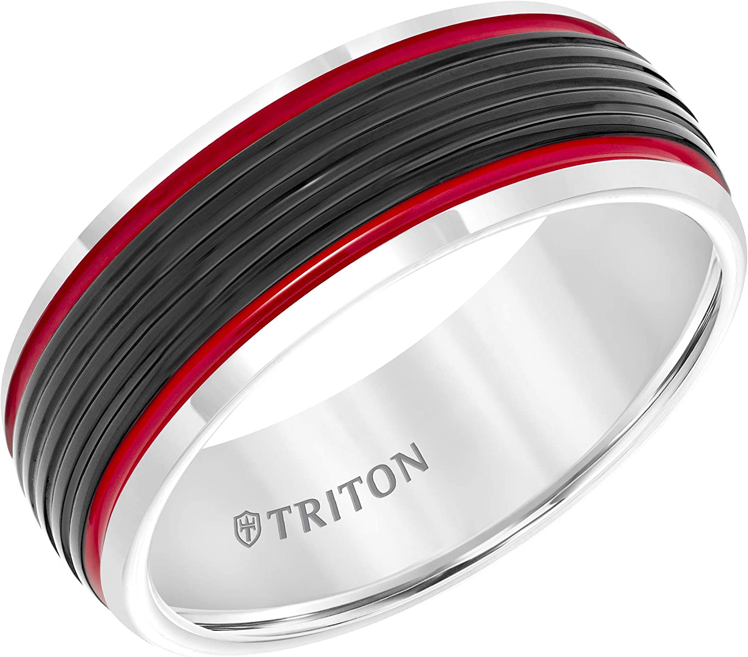 This is a photo of Triton 41mm Tungsten Carbide Beveled Edge Wedding Band with a