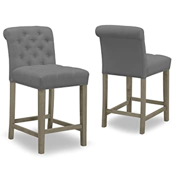 Incredible Amazon Com Set Of 2 Aleen Grey Fabric Counter Stool With Ibusinesslaw Wood Chair Design Ideas Ibusinesslaworg