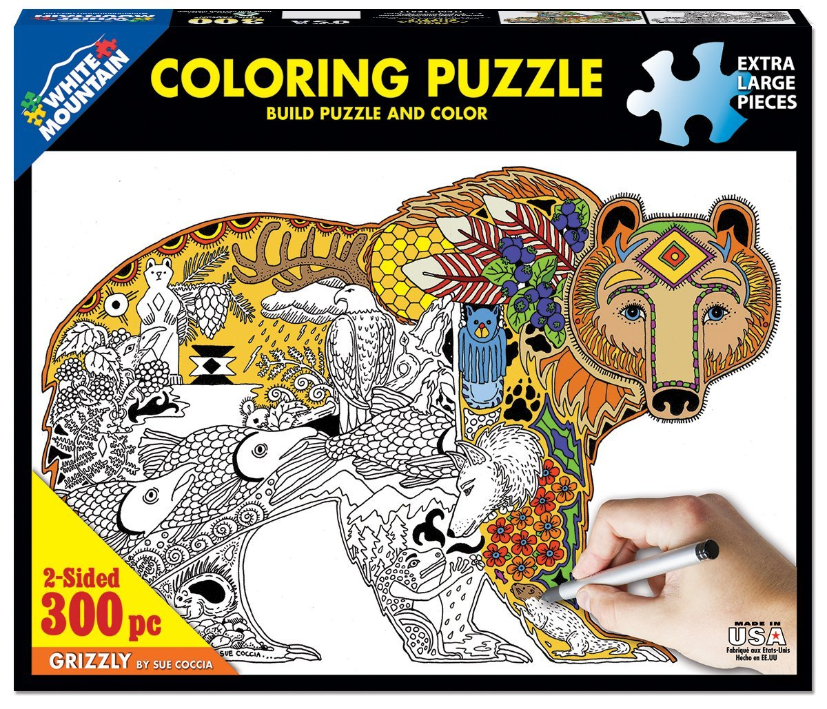 White Mountain Puzzles Grizzly Coloring Puzzle - 300 Piece Jigsaw Puzzle